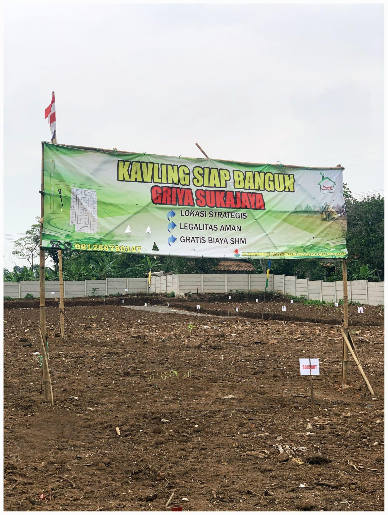Foto spanduk lokasi tanah Kavling murah sukajaya