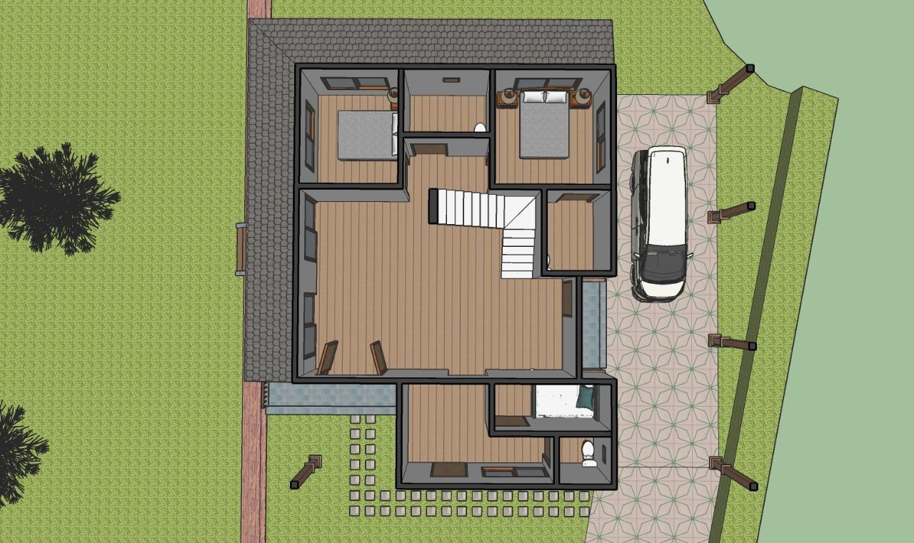 Denah rumah dijual megamendung gadog lantai 1